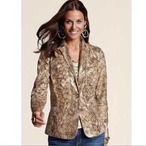 Chicos   Layla foil gold snakeskin blazer jacket